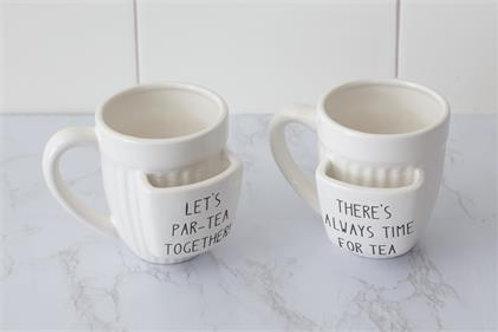 Tea Mugs with Bag Holder (Set of 2)