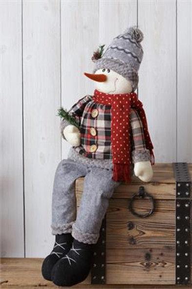 Cozy In Plaid - Snowman - Sitting