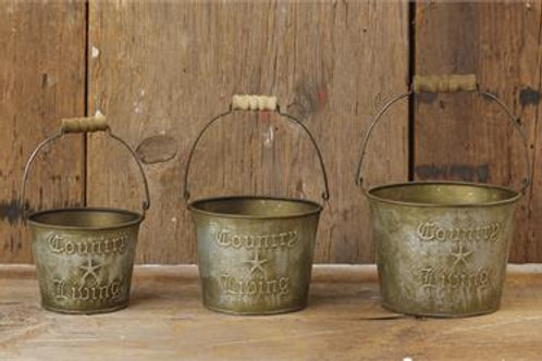 Country Living Buckets (Set of 3)