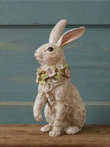 Patio & Garden Bunny  Sitting with Flowers around neck