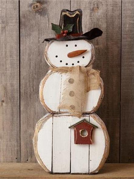Snowman  - Burlap Scarf, Black Hat