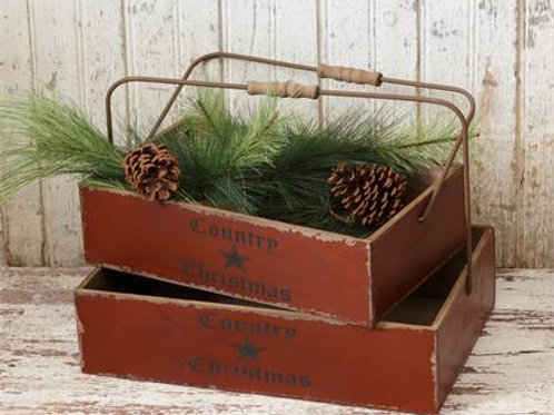 Nesting Bins - Country Christmas Red