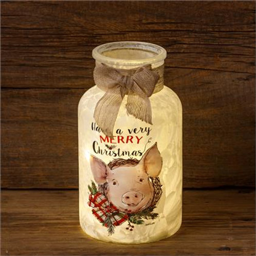 Farmhouse Christmas - Frosted Glass Luminary, Pig