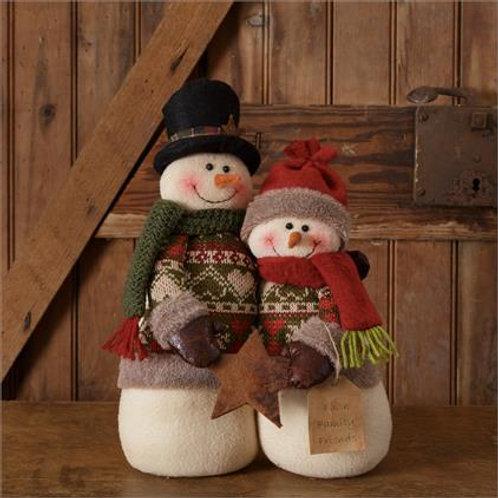 Snowman Couple With Star Faith, Family, Friends