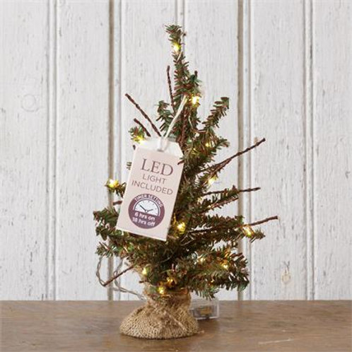 Tree - 10 Led Lights In Burlap Base, Timer