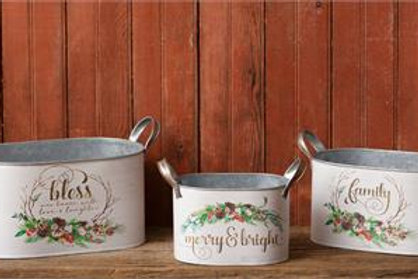 Nesting Tins - Bless, Merry & Bright, Family
