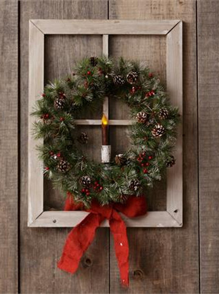 Window Frame - Wreath And Candle