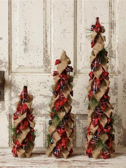 Burlap And Red Plaid Trees