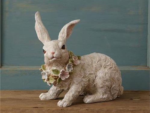 Patio & Garden Bunny with Flowers around neck