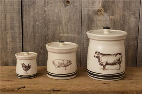 Crocks with Lids - Cow, Pig , Rooster