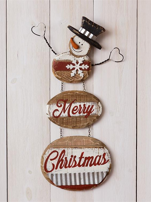 Snowman Sign - Merry Christmas