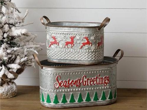 Tin Buckets - Seasons Greetings and Deer