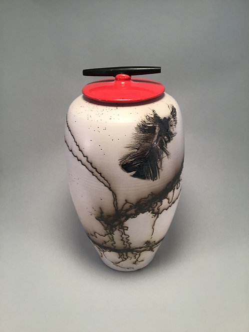 Horse Hair: Tall Oval Red Vase with Lid