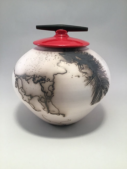 Horse Hair: Red Vase with Lid