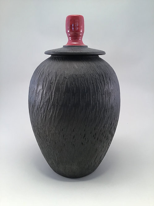 Chattered Vase: Black on Black (Small)