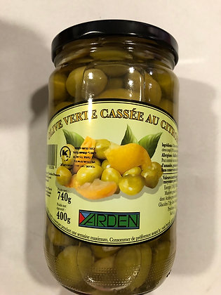Olive verte cassées citron - pessah