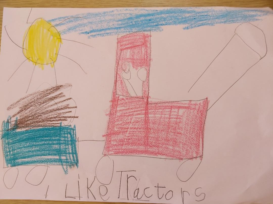 Aidan's drawing of what he likes