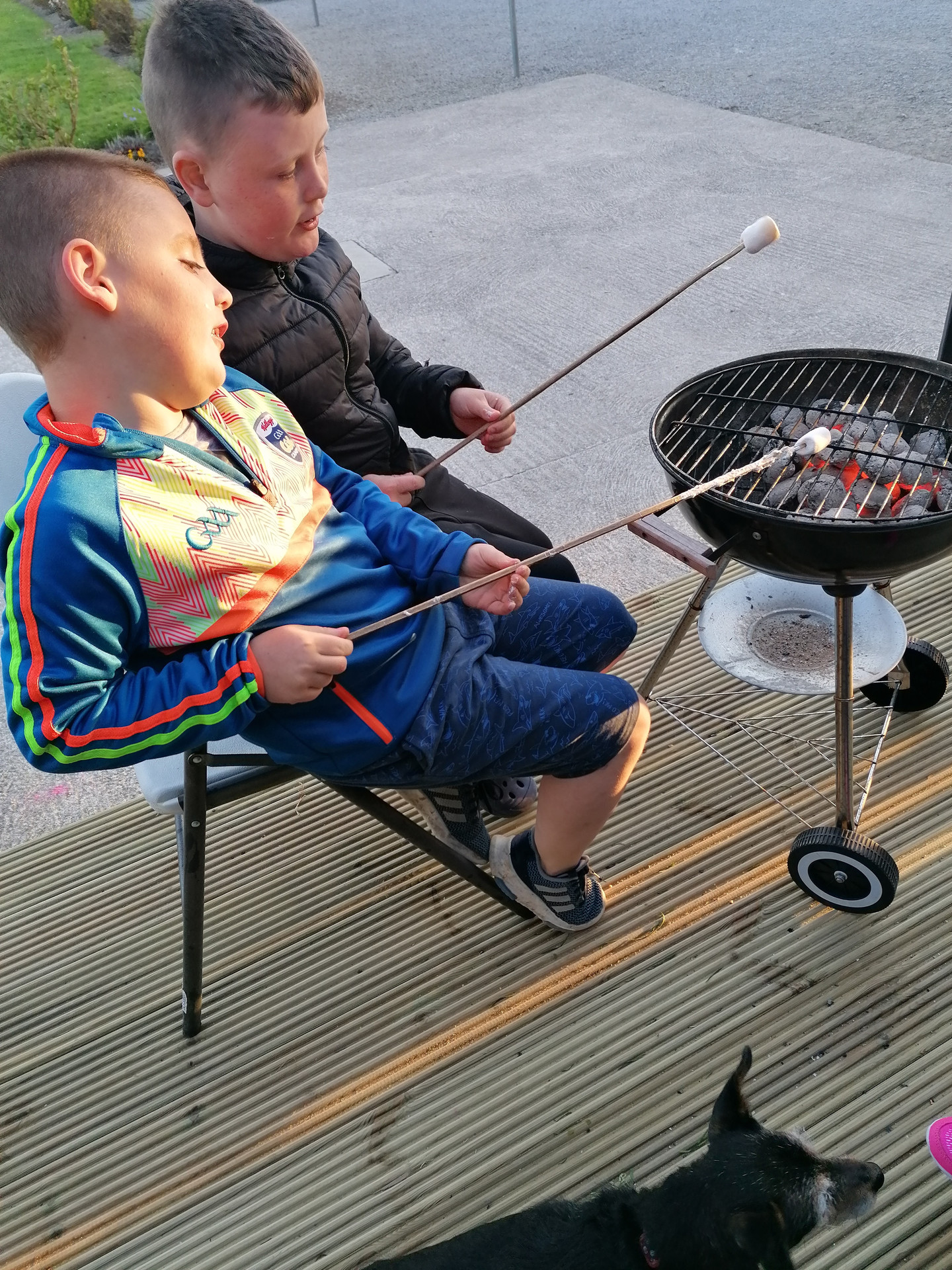 Evan & Jamie roasting marshmallows