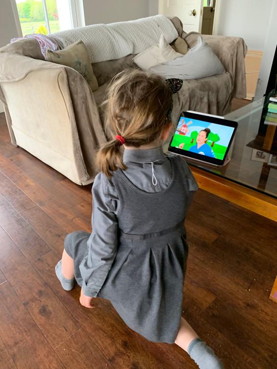 Rose watching Cosmic Kids
