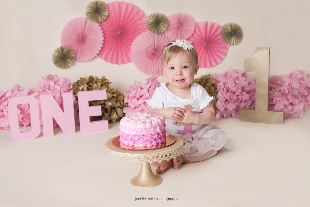Strange Pinkalicious Cake Smash Chester County Childrens Photographer Birthday Cards Printable Benkemecafe Filternl