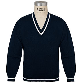 V-Neck Sweater with White Trim