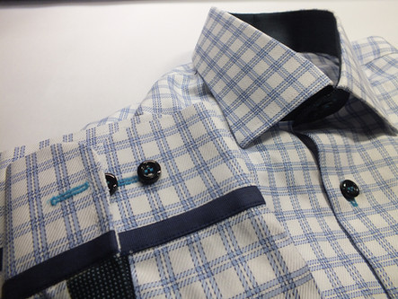 blue-white shirt with details