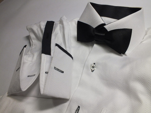 white shirt with bow-tie