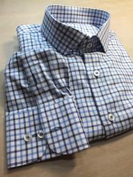 blue-white-black shirt