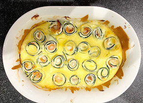 Clafoutis de rouleaux de courgette au saumon fumé