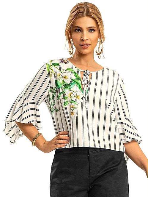 Blusa Floral + Listras
