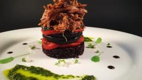 Black rice lamb stack or vegan stack