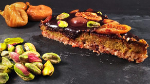 Pistachio fig and chestnut tart