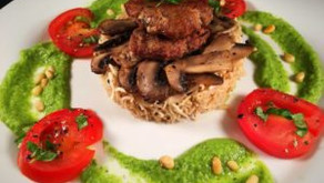 Turkey burger with celeriac rice and courgette sauce