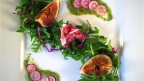 Prosciutto figs with avocado lime mint dressing