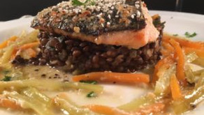Wakame miso salmon with puy lentils