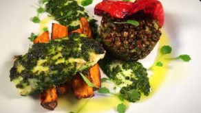 Herby haddock with puy lentils