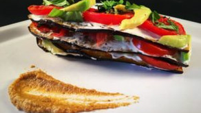 Aubergine, tomato, avocado stack