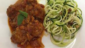 Paleo meatballs with courgette spaghetti
