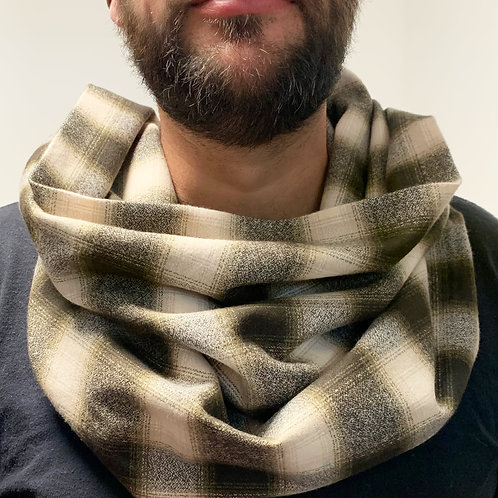 Olive/Black/Cream Flannel Infinity Scarf w/ Hidden Zippered Pocket