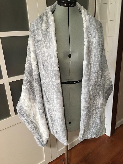 Silver Fawn Minky Sharf (scarf/shawl) w/ 2 zippered pockets