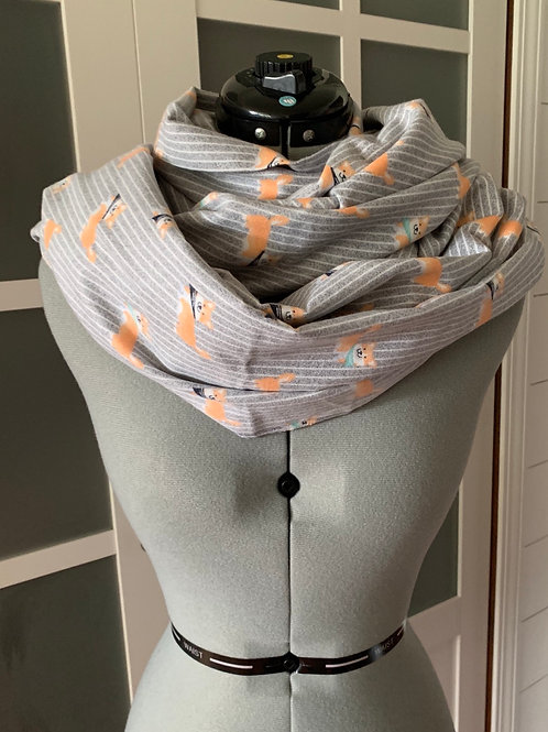 Light Flannel Corgi Infinity Scarf with Hidden Zippered Pocket