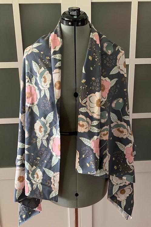 Floral Jersey Knit Sharf (scarf/shawl) w/ 2 zippered pockets