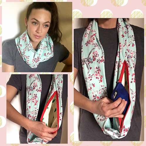 Cherry Blossom Jersey Knit Infinity Scarf w/ Zippered Pocket
