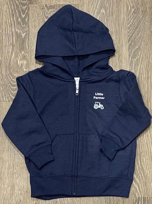 """Toddler """"Little Farmer"""" Zip Core Fleece Hoodie, Navy"""