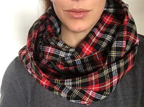 Highlander Plaid Flannel Infinity Scarf w/ Hidden Zippered Pocket