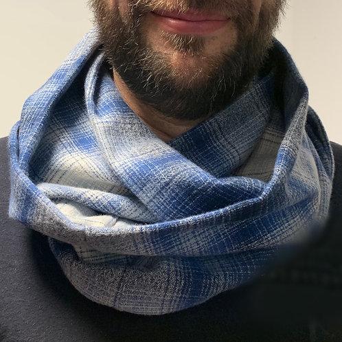 Blue Flannel Infinity Scarf w/ Hidden Zippered Pocket