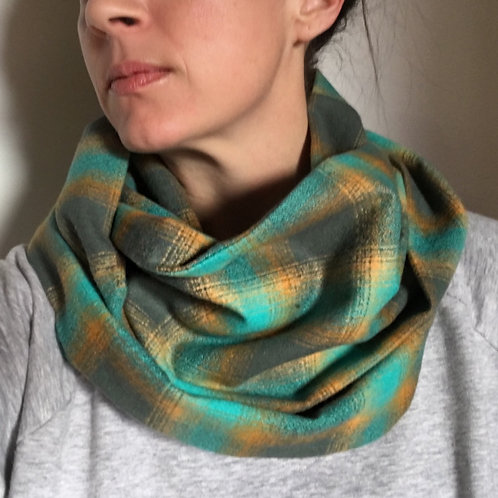 Flannel Infinity Scarf w/ Hidden Zippered Pocket