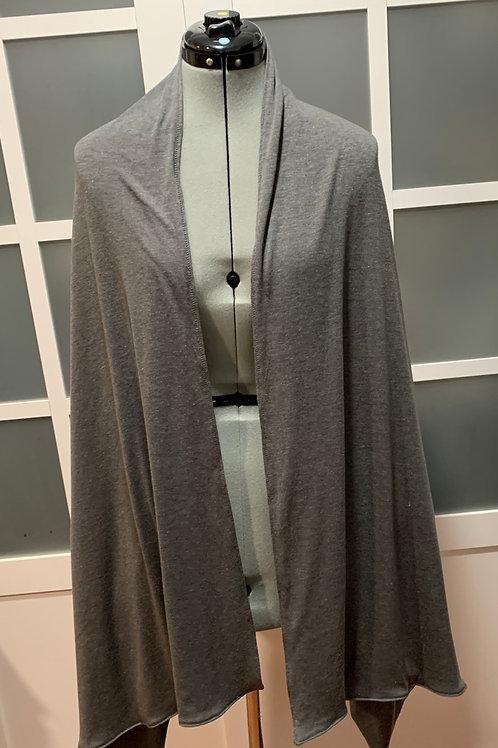 Gunmetal Jersey Knit Sharf (scarf/shawl) w/ 2 zippered pockets