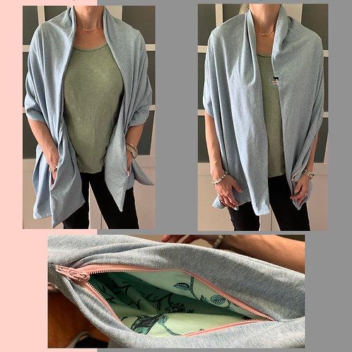 Jersey Knit Sharf (shawl/scarf) w/ 2 zippered pockets