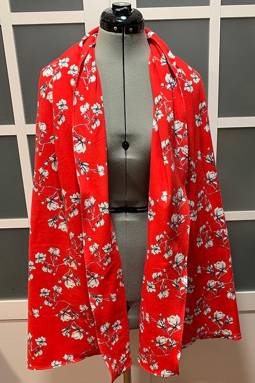 Red Magnolia Jersey Knit Sharf (scarf/shawl) w/ 2 zippered pockets